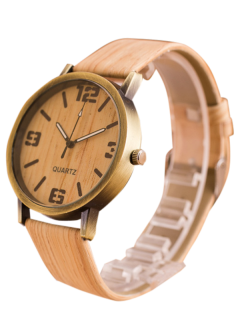 Faux Leather Wooden Quartz Watch - Off-white