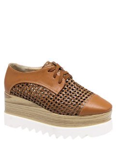 Hollow Out Lace-Up  Platform Shoes - Light Brown 40
