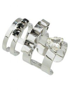 Cut Out Fake Gem Ring Set - Silver
