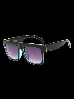 Color Block Frame Rectangle Sunglasses - Light Blue