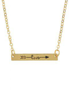 Arrow Rectangle Bar Necklace - Golden