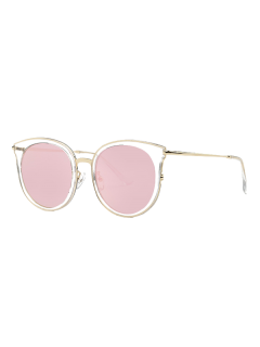 Transparent Cat Eye Mirrored Sunglasses - Pink
