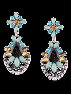 Rhinestone Water Drop Geometric Layered Earrings - Silver