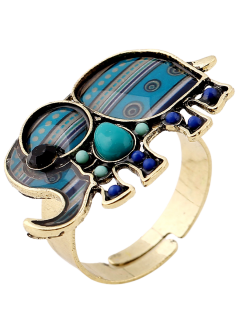Elephant Faux Gem Ring - Peacock Blue