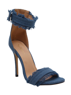 Denim Ankle Strap Stiletto Heel Sandals - Light Blue 37