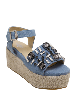 Rhinestone Platform Denim Sandals - Light Blue 37