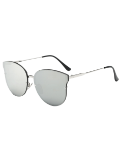 Full Rims Butterfly Mirrored Sunglasses - Silver
