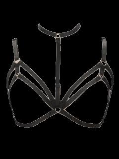 Bijoux De Corps Bondage En Forme De Soutiens-gorge Harni Multicouches - Noir