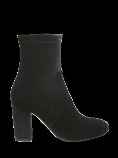 Botas De Tacón Grueso Terciopelo Calcetín - Negro 39