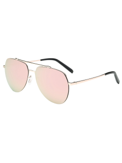 Lightweight Mirrored Pilot Sunglasses - Light Pink