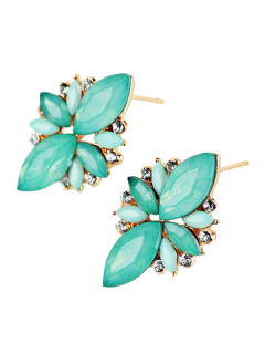 Artificial Gems Embellished Candy Color Earrings - Azure