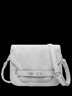 Stitching Double Hasp Crossbody Bag - Gray
