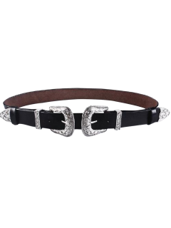 Cameo Double Buckle Faux Leather Belt - Black