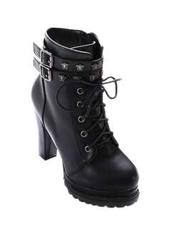 Double Buckle Lace-Up Metal Ankle Boots - Black 38