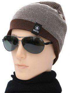 Letter Patch Flocking Knitted Beanie - Brown