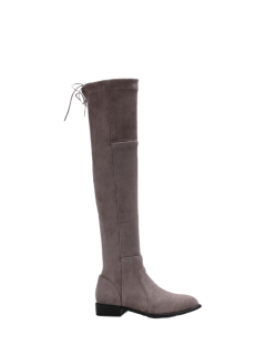 Flock Flat Heel Thigh Boots - Gray 38