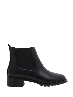 Elastic Round Toe Ankle Boots - Black 38