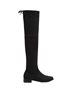 Flat Heel Zip Tie Up Thigh Boots - Black 38