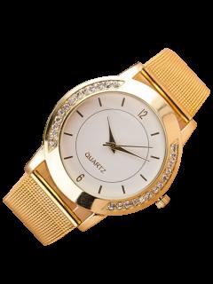 Rhinestone Steel Embellished Quartz Watch - White