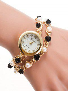 Faux Pearl Rose Charm Bracelet Watch - Golden