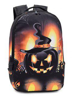 Pumpkin Printed Colour Spliced Halloween Backpack - Yellow And Black