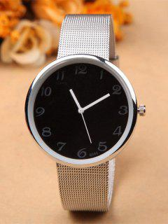 Alloy Circle Dial Plate Quartz Watch - Black