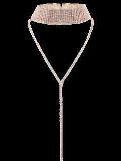 Collier Ras Du Cou Multicouche Avec Décoration De Diamants Artificieux - Champagne