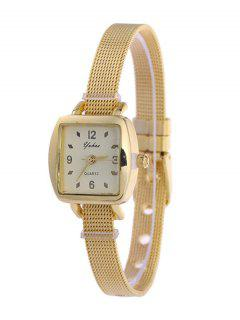 Alloy Band Geometric Dial Plate Watch - Golden