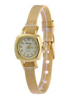 Geometric Dial Plate Alloy WatchBand Watch - Golden