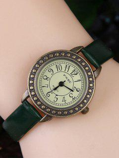 Faux Leather Alloy Watch - Green
