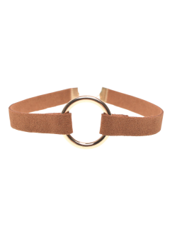 Velvet Strip Copper Coil Choker Necklace - Brown