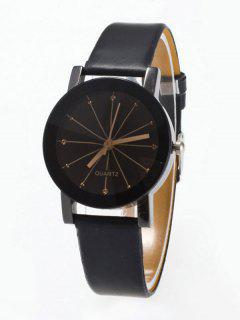 Rhinestone Geometric Faux Leather Quartz Watch - Black