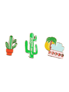 Cactus Hotel Coconut Tree Brooch Set - Green