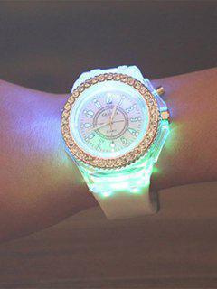 Rhinestone Silicone Quartz Watch - White