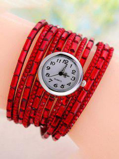 Rhinestone Quartz Wrap Bracelet Watch - Red