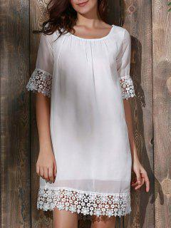 Lace Splice Scoop Neck Half Sleeve Dress - White Xl