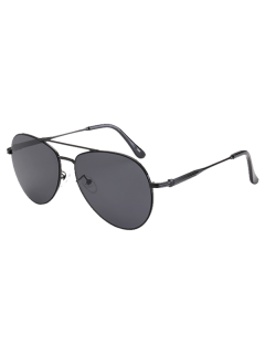 Metal Crossbar Pilot Sunglasses - Black