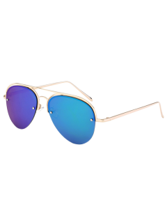 Half Frame Pilot Mirrored Sunglasses - Ice Blue