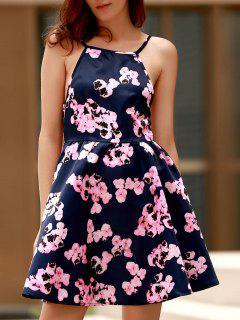 Open Back Floral Print Spaghetti Straps Dress - Purplish Blue Xl