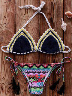 Printed Crocheted Bikini Set - Purplish Blue