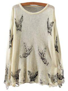 Butterfly Print Long Sleeve Jumper - Off-white