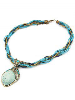 Faux Gem Multilayered Retro Style Necklace - Lake Blue