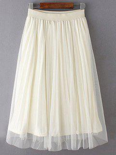 Mesh Spliced Elastic Waist Skirt - Off-white