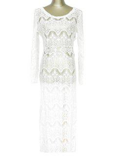 White Lace Long Sleeve Maxi Cover-Up - White