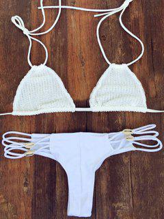 Crochet Blanco Cabestro Conjunto Del Bikini - Blanco Xl