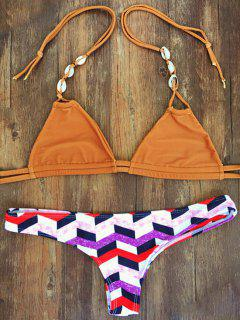 Geometric Pattern Halterneck Bikini Set - Xl