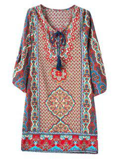 3/4 Sleeve African Tribal Print Straight Dress - L