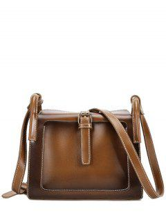 Stitching Buckle PU Leather Crossbody Bag - Brown