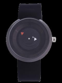 Reloj Numérico Silicona Placa Giratoria - Negro