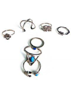 Ethnic Style Moon Elephant Rings - Silver